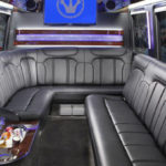 Mercedes Sprinter interior luxury seating and tv