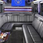 Mercedes Sprinter interior luxury seating and tv